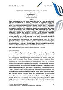 Vol. 1 No. 1 Th. Jan-Des 2016 ISSN: BELAJAR DARI KEBERHASILAN PENDIDIKAN DI FINLANDIA
