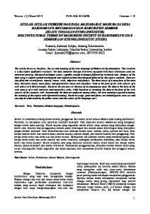 Volume 1 (1) Maret 2013 PUBLIKA BUDAYA Halaman 1-10