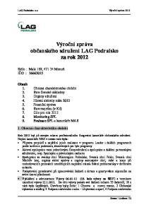 Výroční zpráva občanského sdružení LAG Podralsko za rok 2012