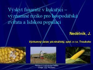 Výskyt fusarióz v kukuřici významné riziko pro hospodářská zvířata a lidskou populaci