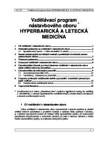 Vzdělávací program nástavbového oboru * HYPERBARICKÁ A LETECKÁ MEDICÍNA