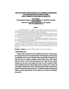WEB ADAPTIF MENGGUNAKAN ALGORITMA FREQUENT WEB DOCUMENT PATTERN (FWDP) PADA WEBSITE UNIVERSITAS RESPATI