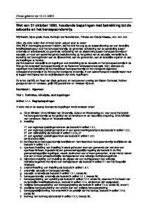 Wet van 31 oktober 1995, houdende bepalingen met betrekking tot de educatie en het beroepsonderwijs