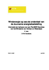 Windenergie op zee als onderdeel van de duurzame energiedoelstelling