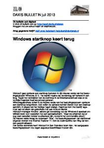 Windows startknop keert terug