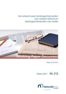 Working Paper Document. Het verband tussen betalingsachterstanden voor mobiele telefonie en betalingsachterstanden voor krediet