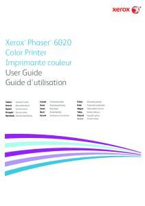 Xerox Phaser 6020 Color Printer Imprimante couleur User Guide Guide d'utilisation
