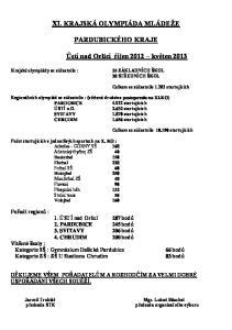 XI. KRAJSKÁ OLYMPIÁDA MLÁDEŢE PARDUBICKÉHO KRAJE. Ústí nad Orlicí říjen 2012 květen 2013