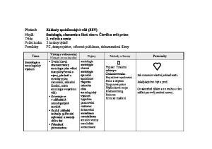 Základy společenských věd (ZSV) Sociologie, ekonomie a části oboru Člověk a svět práce 2. ročník a sexta