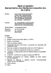 Zápis ze zasedání Zastupitelstva obce Radějovice konaného dne