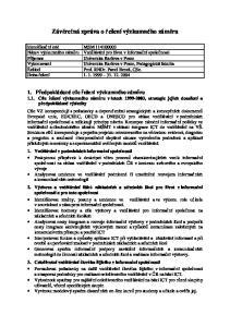 Závěrečná zpráva o řešení výzkumného záměru