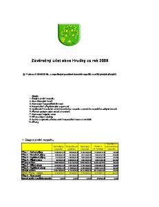 Závěrečný účet obce Hrušky za rok 2009