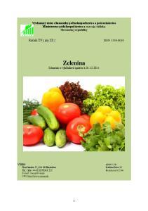 Zelenina Situačná a výhľadová správa k