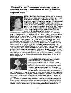 Zoen mit a regn het Joodse element in de muziek van Mieczyslaw Weinberg, Veniamin Basner en Dmitri Sjostakovitsj