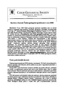 Zpráva o činnosti České geologické společnosti v roce 2006