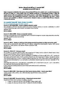 Zpráva o činnosti rady MČ pro 12. zasedání ZMČ předkládá starosta MČ Praha 19