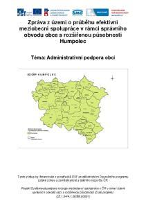 Zpráva z území o průběhu efektivní meziobecní spolupráce v rámci správního obvodu obce s rozšířenou působností Humpolec